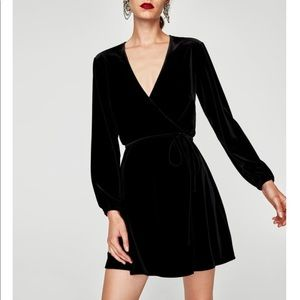 Zara Velvet Wrap Mini Dress